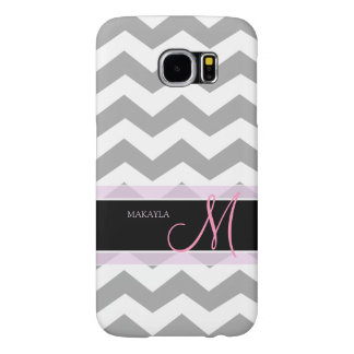 Light Gray Chevron with Pink Personalized Monogram Samsung Galaxy S6 Case