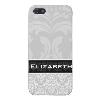 Light Gray Damask iPhone 4 Case With Your Name