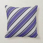 [ Thumbnail: Light Gray, Dark Slate Blue, and Black Colored Throw Pillow ]