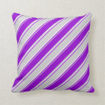 [ Thumbnail: Light Gray, Dark Violet, and White Pattern Pillow ]
