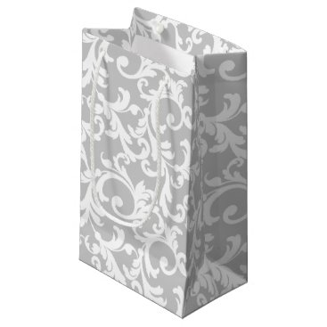 Christmas Themed Light Gray Elegant Damask Print Small Gift Bag
