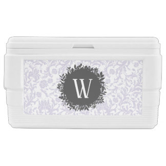 Light Gray Floral Wallpaper Pattern with Monogram Cooler