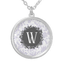 Light Gray Floral Wallpaper Pattern with Monogram Silver Plated Necklace