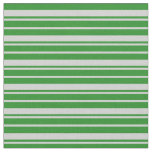 [ Thumbnail: Light Gray & Forest Green Colored Lines Pattern Fabric ]