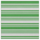 [ Thumbnail: Light Gray & Forest Green Lines/Stripes Pattern Fabric ]