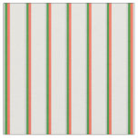 [ Thumbnail: Light Gray, Forest Green, Red, and White Pattern Fabric ]