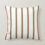 [ Thumbnail: Light Gray, Forest Green, Red, and White Pattern Throw Pillow ]