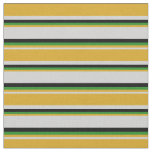 [ Thumbnail: Light Gray, Goldenrod, Forest Green & Black Lines Fabric ]