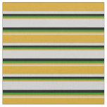 [ Thumbnail: Light Gray, Goldenrod, Forest Green & Black Lines Fabric ]