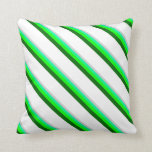 [ Thumbnail: Light Gray, Green, Lime, Dark Green & White Lines Throw Pillow ]