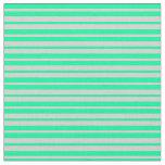 [ Thumbnail: Light Gray & Green Lines Pattern Fabric ]