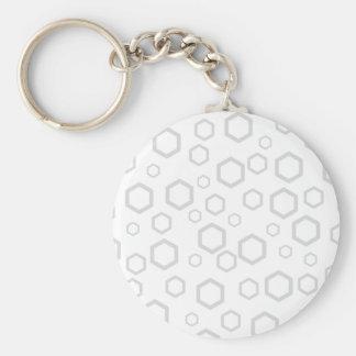 Light Gray Hexagon Outlines. Pattern. Basic Round Button Keychain