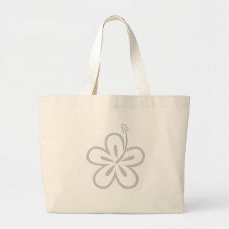 light gray hibiscus canvas bag