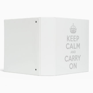 Light Gray Keep Calm and Carry On 3 Ring Binder