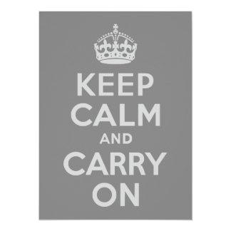 Light Gray Keep Calm and Carry On Card