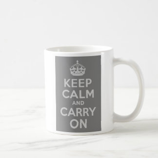 Light Gray Keep Calm and Carry On Coffee Mug