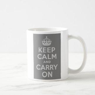 Light Gray Keep Calm and Carry On Coffee Mug