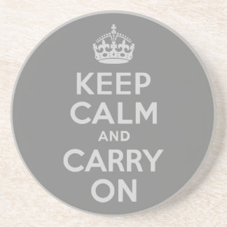 Light Gray Keep Calm and Carry On Drink Coaster