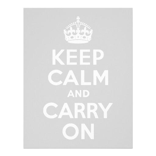 Light Gray Keep Calm and Carry On Letterhead