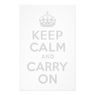 Light Gray Keep Calm and Carry On Stationery