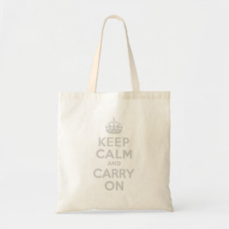 Light Gray Keep Calm and Carry On Tote Bag