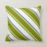 [ Thumbnail: Light Gray, Light Green, Green, White, and Blue Throw Pillow ]