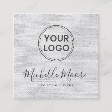 Light gray linen add your logo social media icons square business card