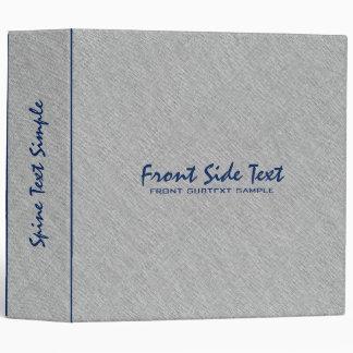 Light Gray Linen Burlap Fabric Look Blue Accents Binder