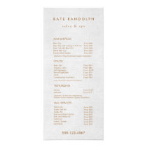 Light Gray Linen Salon Spa Price List Service Menu