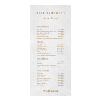 Light Gray Linen Salon Spa Price List Service Menu
