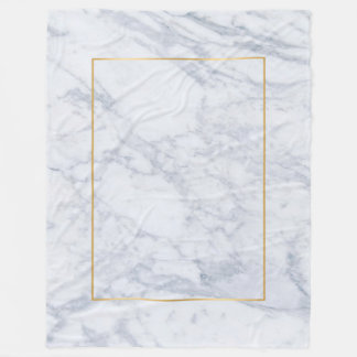 Light Gray Marble Texture Print & Gold Accent Fleece Blanket