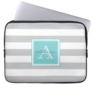 Light Gray Monogrammed Awning Stripe Laptop Computer Sleeves