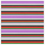 [ Thumbnail: Light Gray, Orchid, Green, Red, and Black Colored Fabric ]
