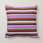 [ Thumbnail: Light Gray, Orchid, Green, Red, and Black Colored Throw Pillow ]