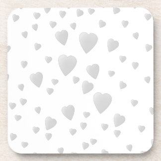 Light Gray Pattern of Love Hearts. Drink Coaster