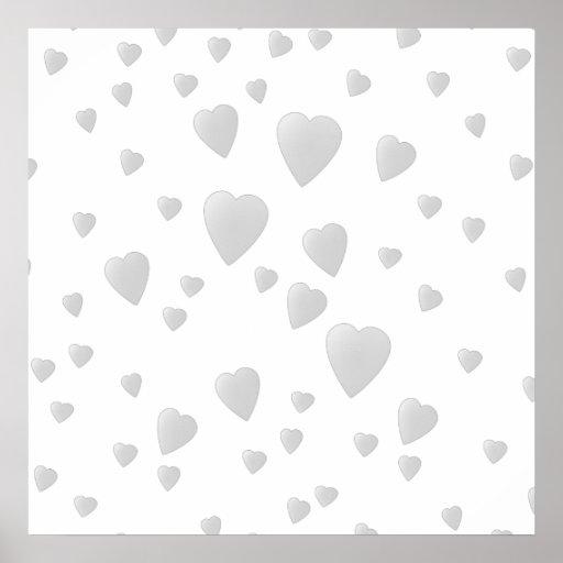Light Gray Pattern of Love Hearts. Print