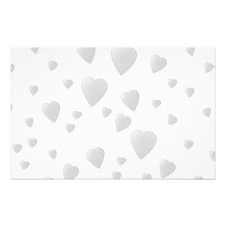Light Gray Pattern of Love Hearts. Stationery