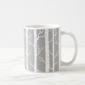 Light Gray, Pink and White Trees Pattern Coffee Mug