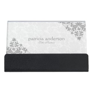 Light Gray Plush Lace And White Damask Desk Business Card Holder