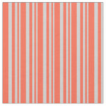 [ Thumbnail: Light Gray & Red Lined/Striped Pattern Fabric ]