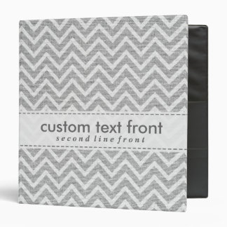 Light Gray Retro Chevron Pattern Linen Texture 3 Ring Binders