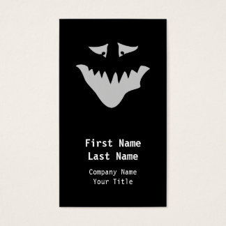 Light Gray Scary Face. Monster. Business Card