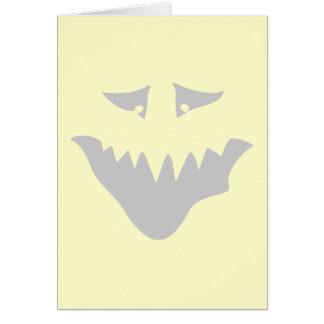 Light Gray Scary Face. Monster. Card