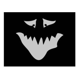 Light Gray Scary Face. Monster. Postcard