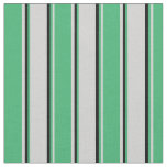 [ Thumbnail: Light Gray, Sea Green, and Black Stripes Fabric ]