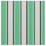 [ Thumbnail: Light Gray, Sea Green, and Black Stripes Fabric ]