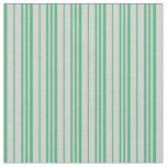 [ Thumbnail: Light Gray & Sea Green Lined/Striped Pattern Fabric ]