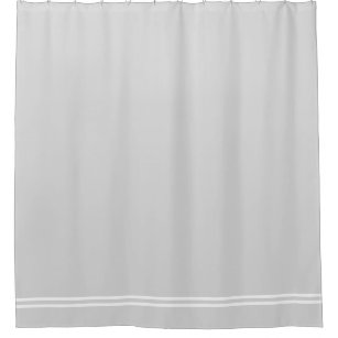 Light Gray Shower Curtain Double Line Border
