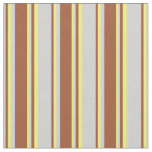 [ Thumbnail: Light Gray, Sienna, and Yellow Colored Pattern Fabric ]