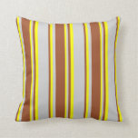 [ Thumbnail: Light Gray, Sienna, and Yellow Colored Pattern Throw Pillow ]